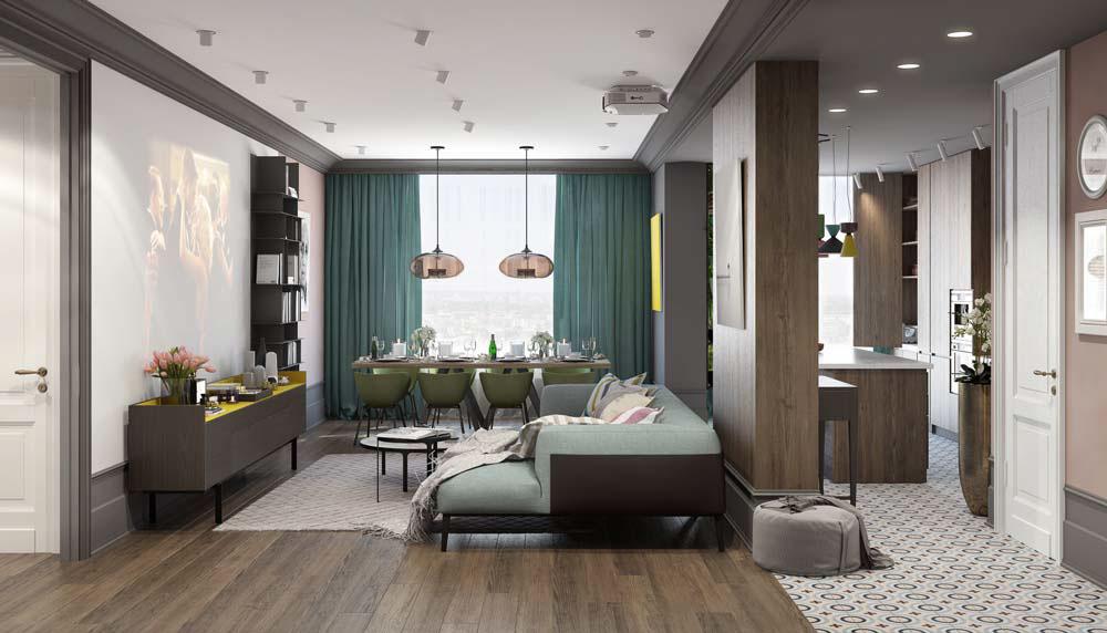 Thiết kế căn hộ chung cư 3 phòng ngủ hiện đại đầy màu sắc 1