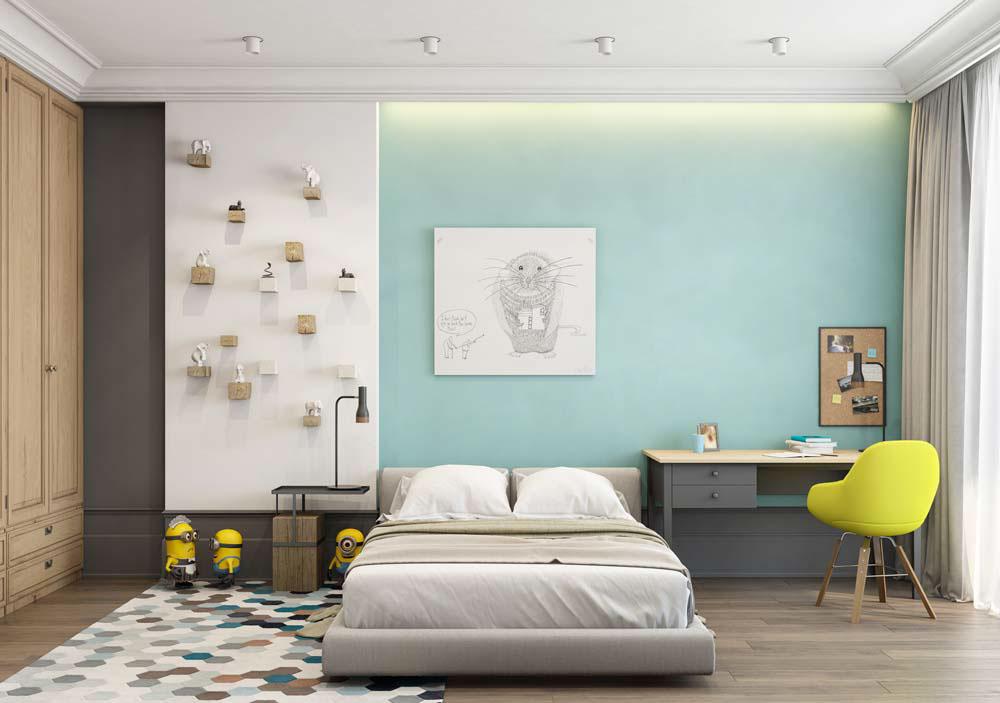 Thiết kế căn hộ chung cư 3 phòng ngủ hiện đại đầy màu sắc 10