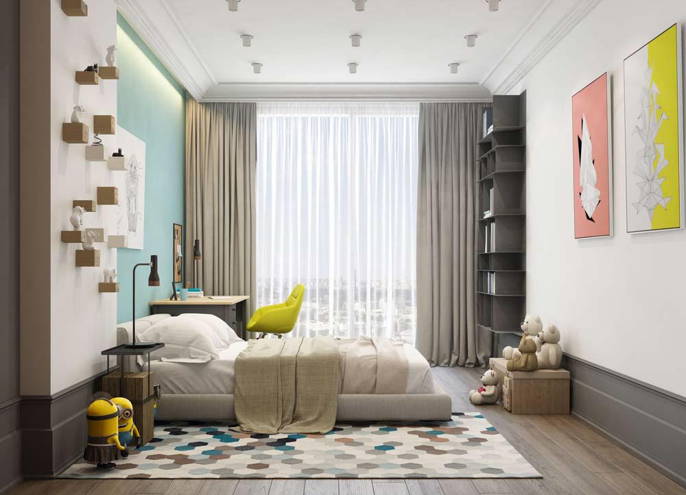 Thiết kế căn hộ chung cư 3 phòng ngủ hiện đại đầy màu sắc 11