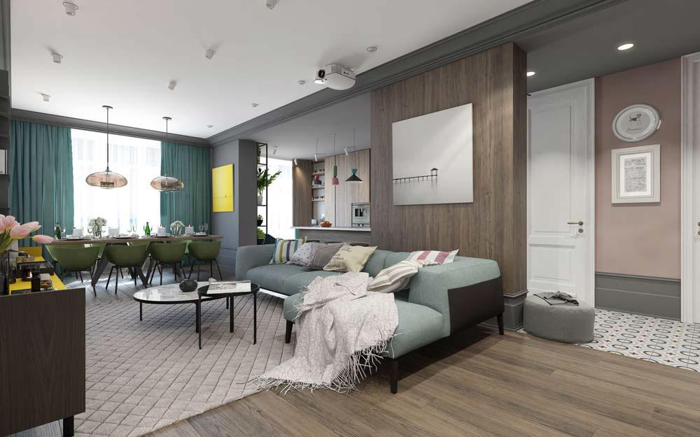 Thiết kế căn hộ chung cư 3 phòng ngủ hiện đại đầy màu sắc 3