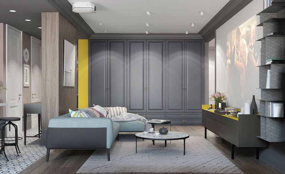 Thiết kế căn hộ chung cư 3 phòng ngủ hiện đại đầy màu sắc 4