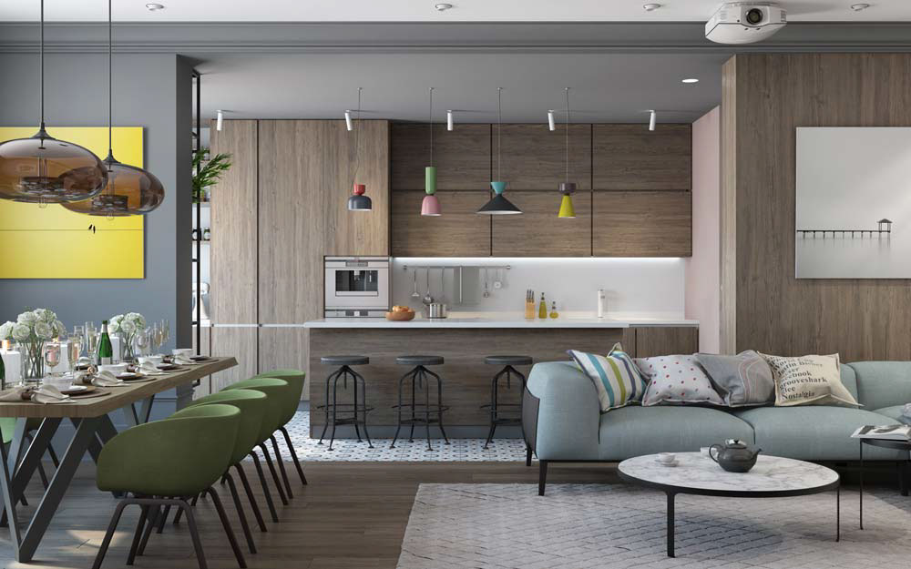 Thiết kế căn hộ chung cư 3 phòng ngủ hiện đại đầy màu sắc 5