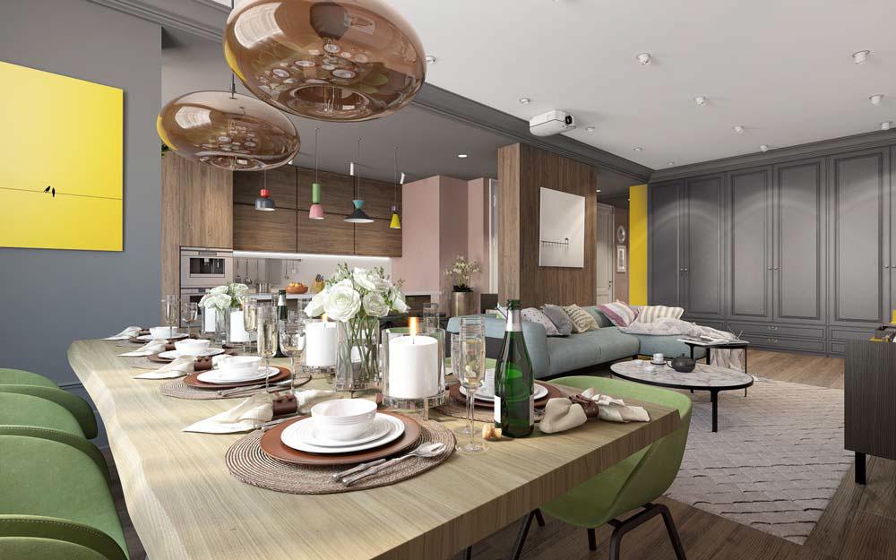 Thiết kế căn hộ chung cư 3 phòng ngủ hiện đại đầy màu sắc 6