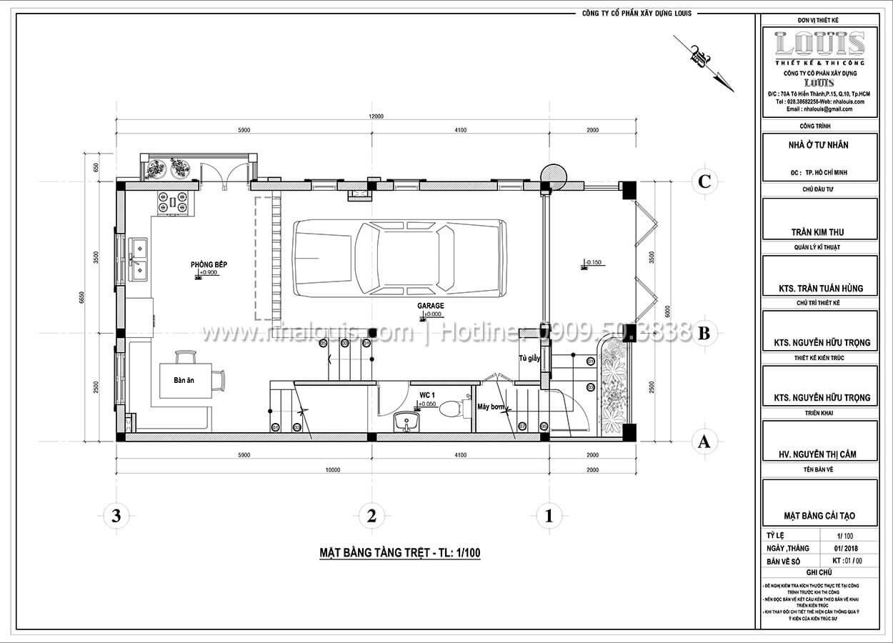 Mặt bằng tầng trệt Cải tạo nhà biệt thự phố cập nhật xu hướng mới tại Quận 10 - 04