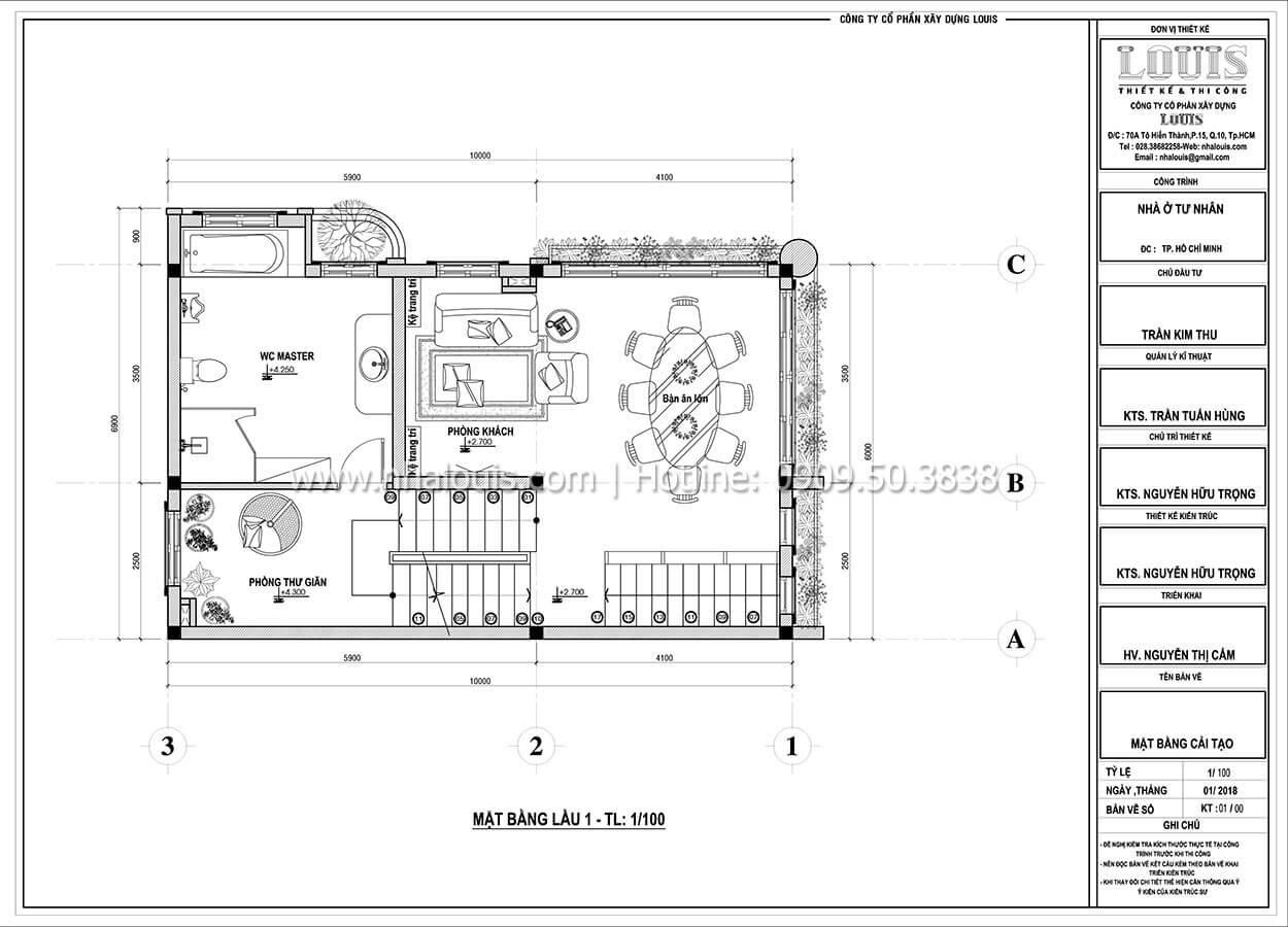 Mặt bằng tầng 1 Cải tạo nhà biệt thự phố cập nhật xu hướng mới tại Quận 10 - 05