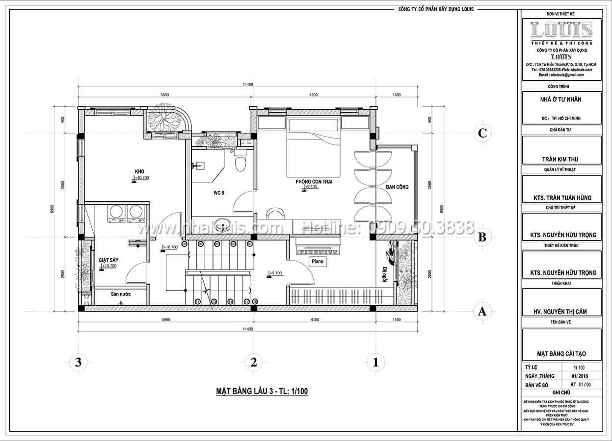 Mặt bằng tầng 3 Cải tạo nhà biệt thự phố cập nhật xu hướng mới tại Quận 10 - 07