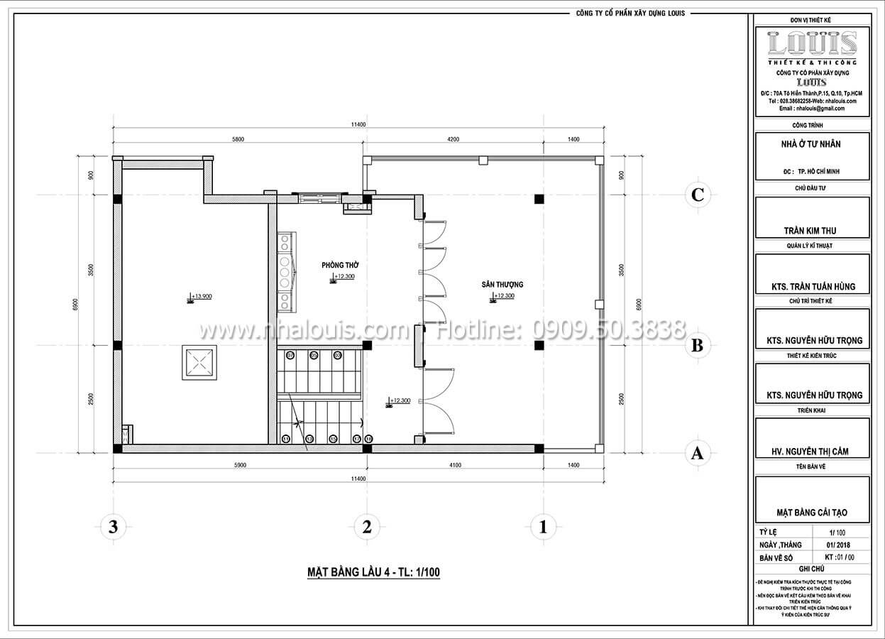 Mặt bằng tầng 4 Cải tạo nhà biệt thự phố cập nhật xu hướng mới tại Quận 10 - 08