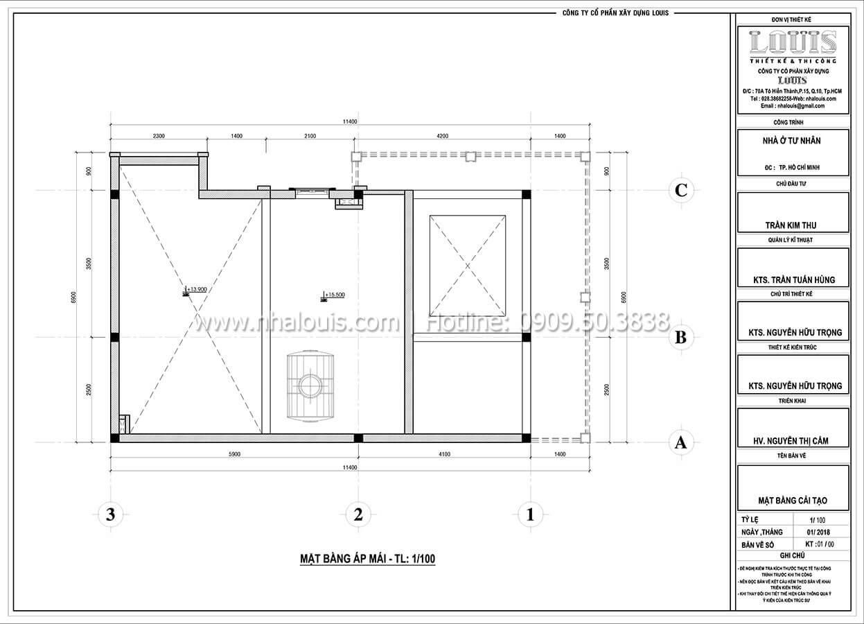 Mặt bằng tầng áp mái Cải tạo nhà biệt thự phố cập nhật xu hướng mới tại Quận 10 - 09