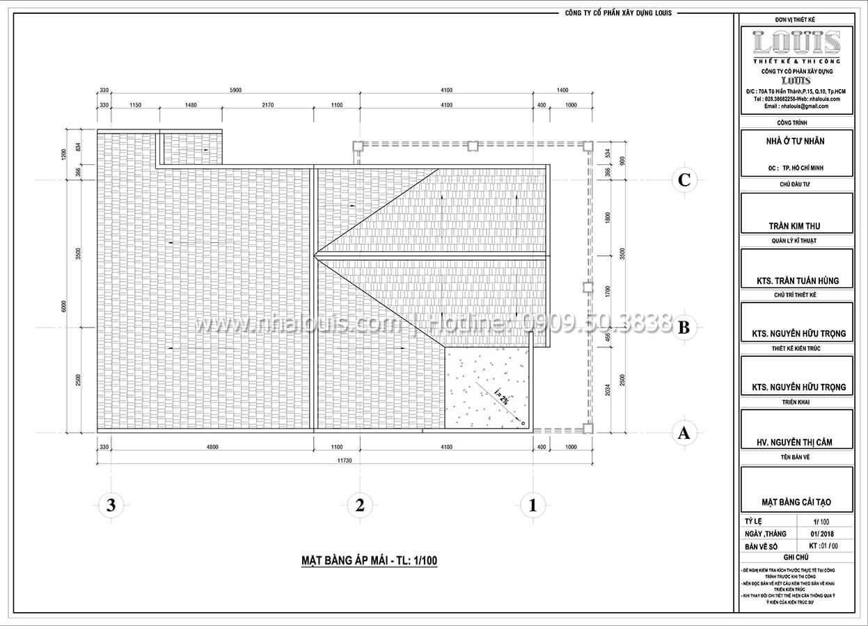 Mặt bằng tầng mái Cải tạo nhà biệt thự phố cập nhật xu hướng mới tại Quận 10 - 10