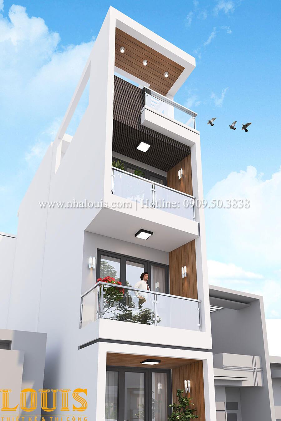 Mặt tiền Mẫu nhà 5 tầng đẹp hiện đại với thiết kế tối giản tại Tân Bình - 04