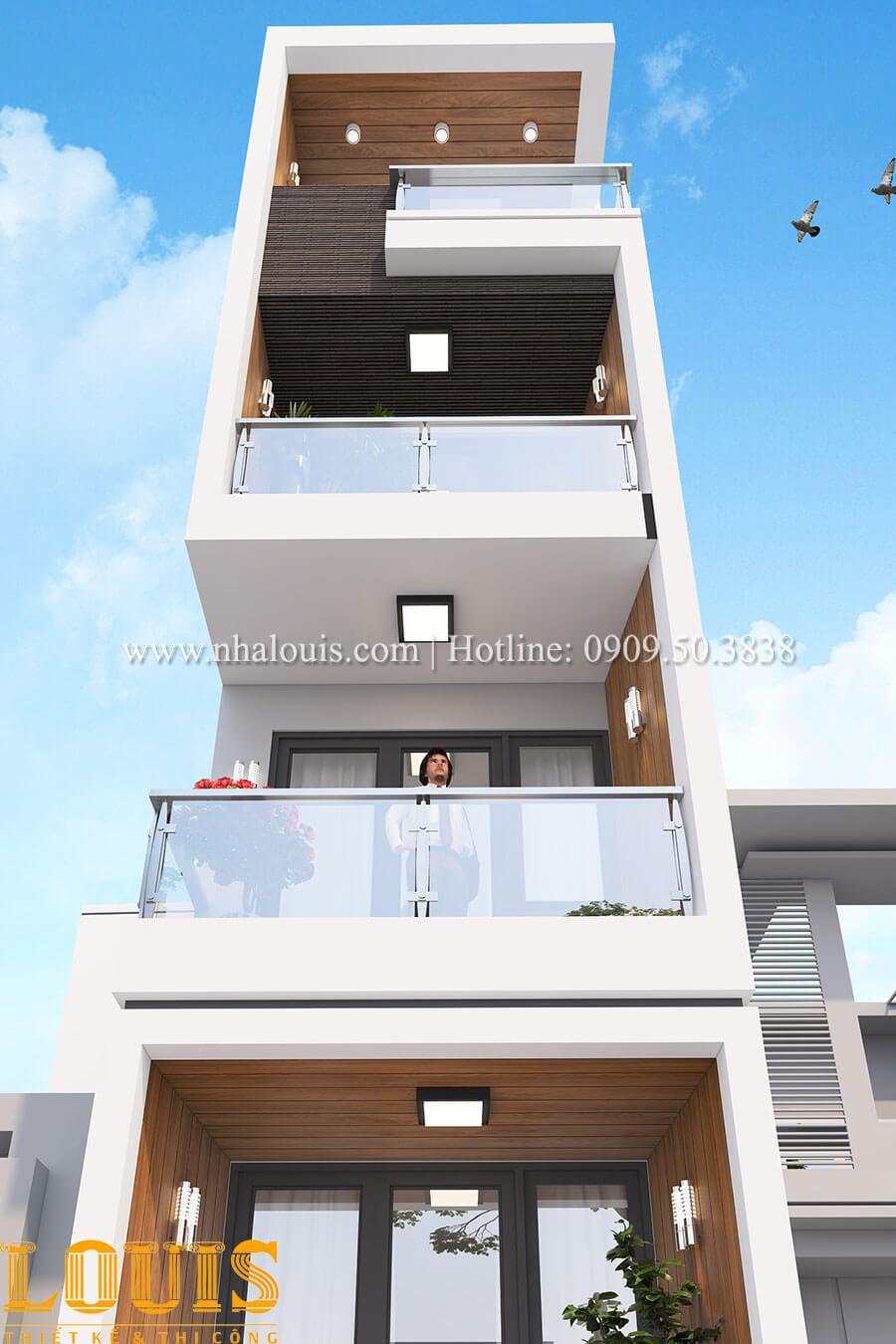 Mặt tiền Mẫu nhà 5 tầng đẹp hiện đại với thiết kế tối giản tại Tân Bình - 05