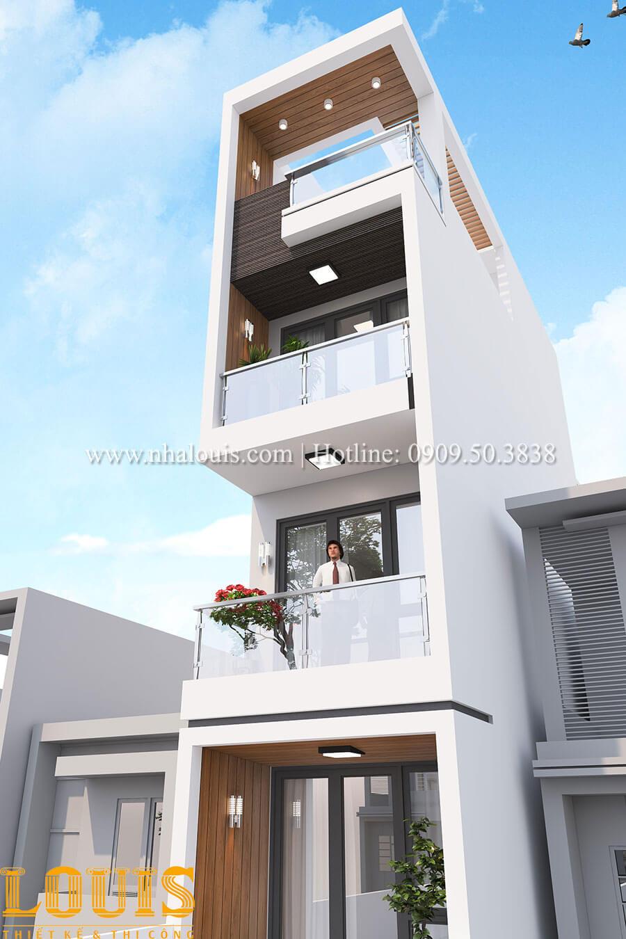 Mặt tiền Mẫu nhà 5 tầng đẹp hiện đại với thiết kế tối giản tại Tân Bình - 06