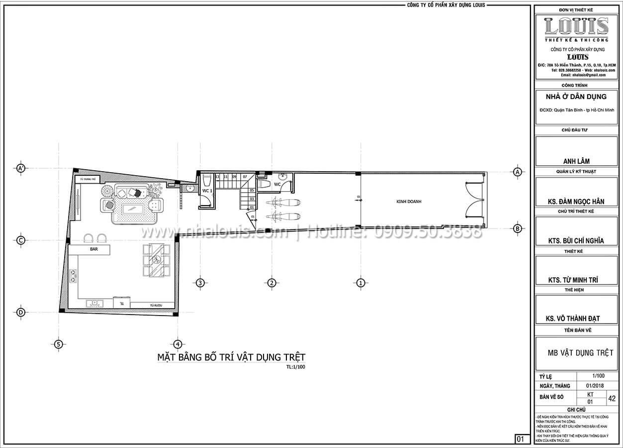 Mặt bằng tầng trệt Mẫu nhà 5 tầng đẹp hiện đại với thiết kế tối giản tại Tân Bình - 07