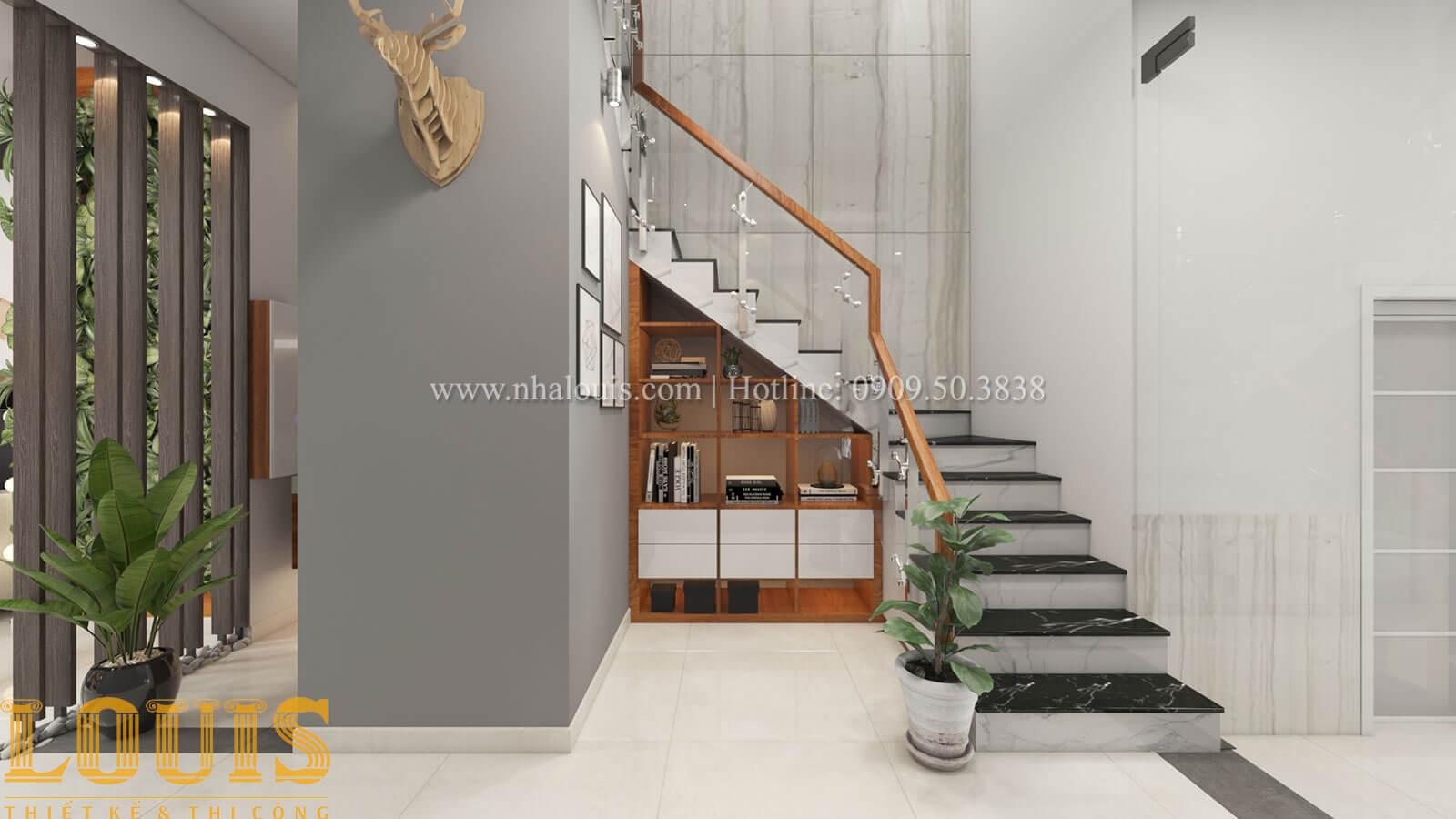 Cầu thang Mẫu nhà 5 tầng đẹp hiện đại với thiết kế tối giản tại Tân Bình - 08