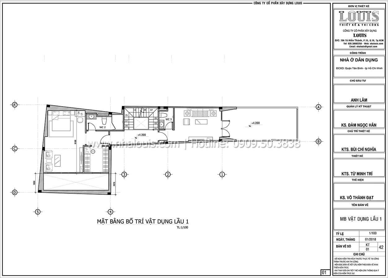 Mặt bằng tầng 1 Mẫu nhà 5 tầng đẹp hiện đại với thiết kế tối giản tại Tân Bình - 15