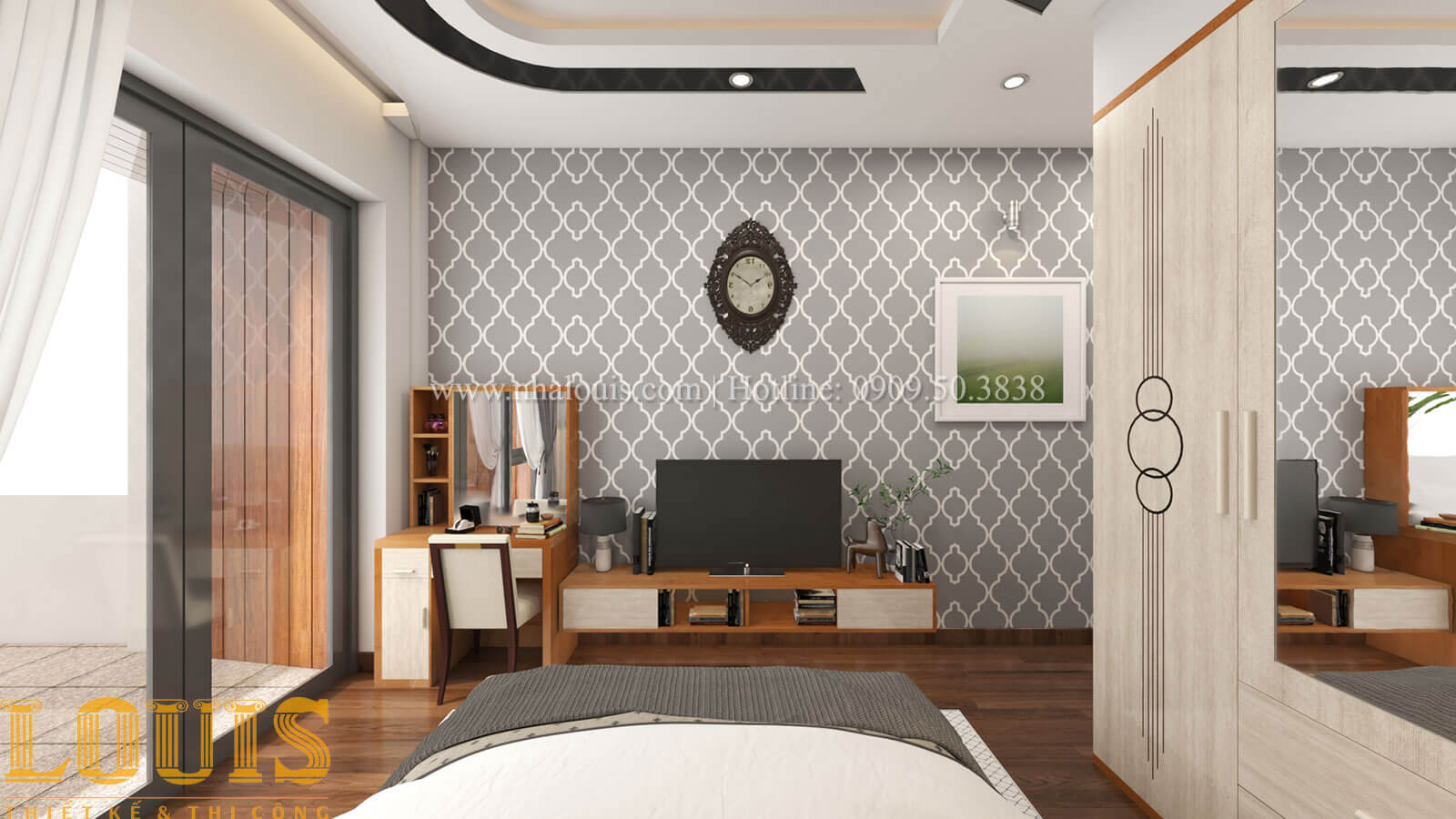 Phòng ngủ ông bà Mẫu nhà 5 tầng đẹp hiện đại với thiết kế tối giản tại Tân Bình - 17
