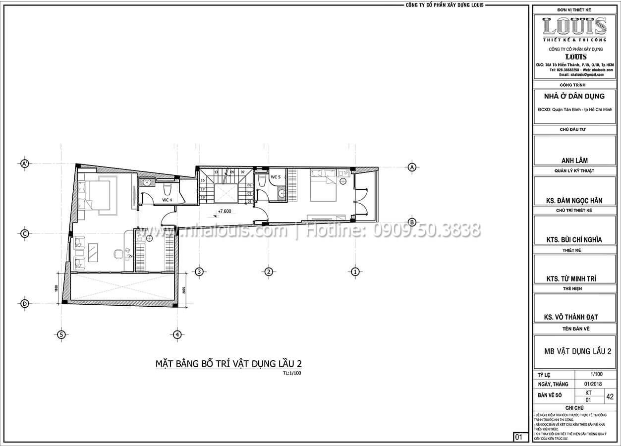 Mặt bằng tầng 2 Mẫu nhà 5 tầng đẹp hiện đại với thiết kế tối giản tại Tân Bình - 21