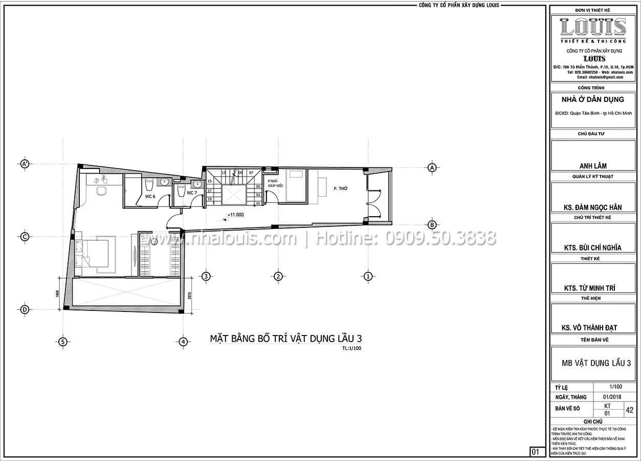 Mặt bằng tầng 3 Mẫu nhà 5 tầng đẹp hiện đại với thiết kế tối giản tại Tân Bình - 32