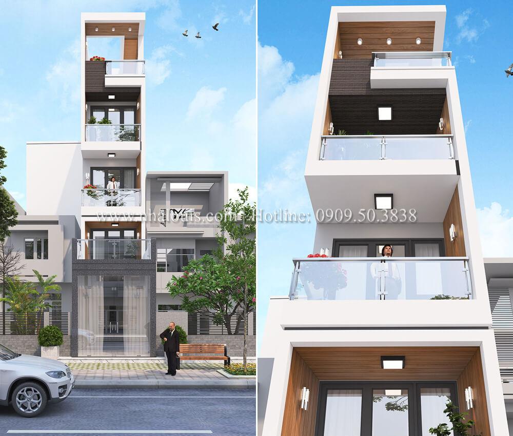 Mẫu nhà 5 tầng đẹp hiện đại với thiết kế tối giản tại Tân Bình