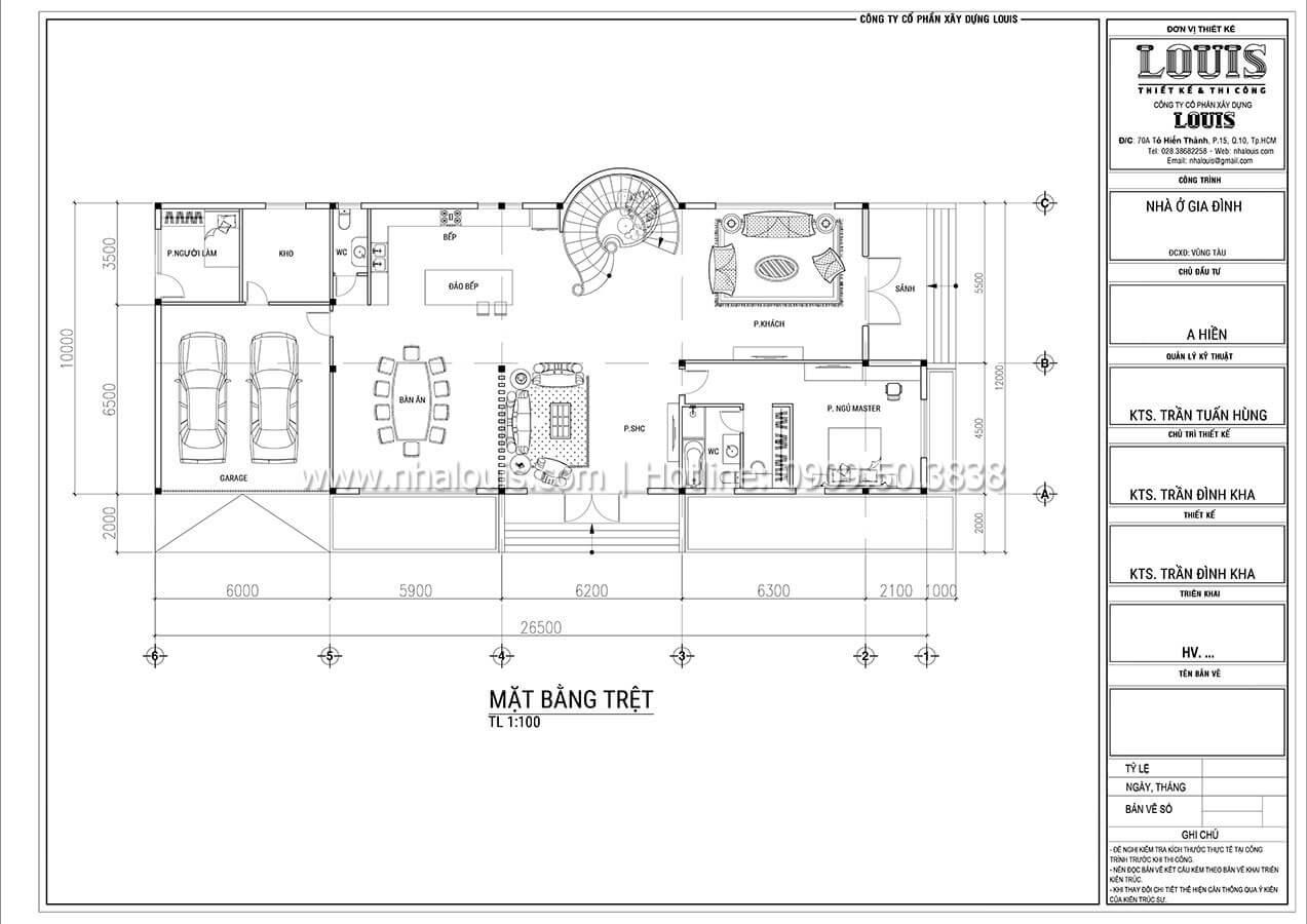 Mặt bằng tầng trệt Thiết kế mẫu biệt thự tân cổ điển 3 tầng đậm chất Tây tại Vũng Tàu - 04