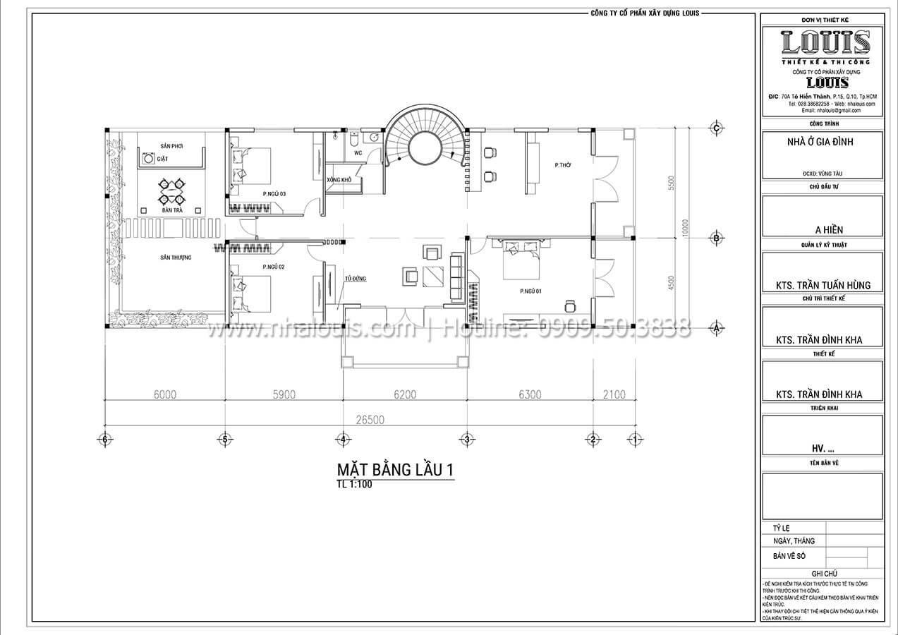 Mặt bằng tầng 1 Thiết kế mẫu biệt thự tân cổ điển 3 tầng đậm chất Tây tại Vũng Tàu - 05