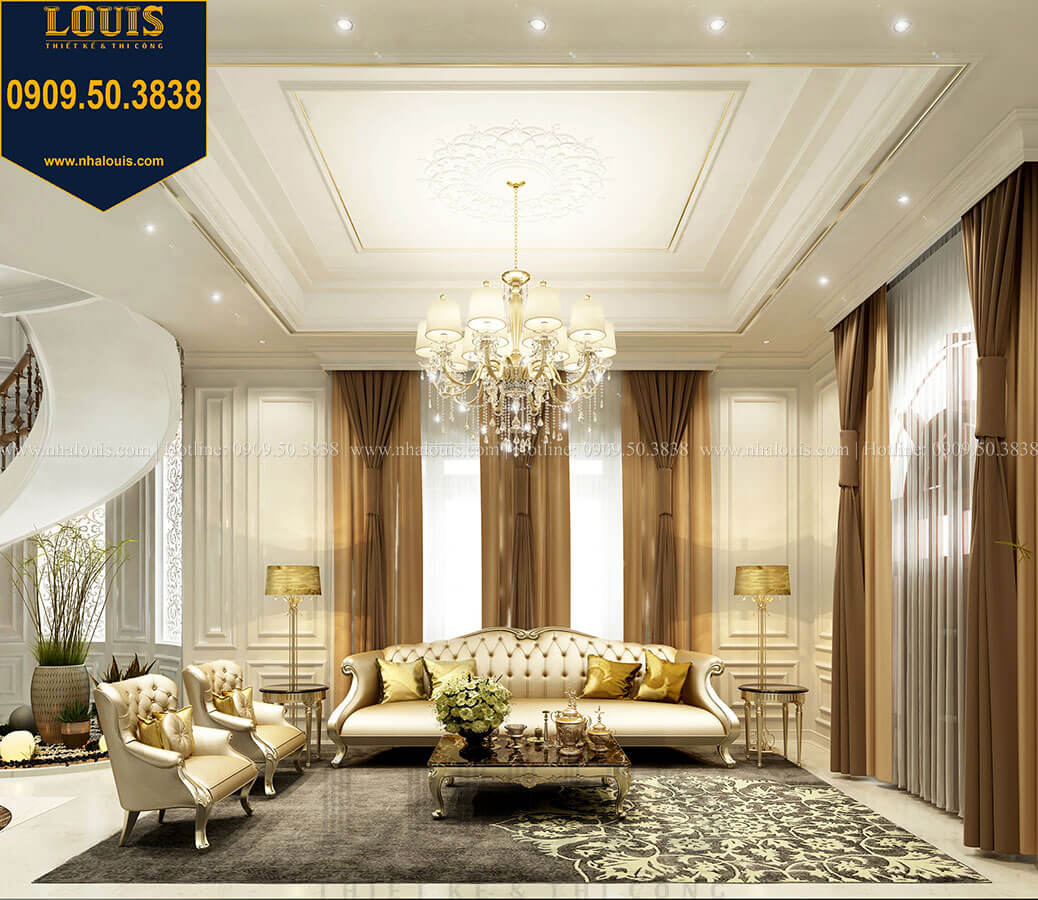 Phòng khách Thiết kế mẫu biệt thự tân cổ điển 3 tầng đậm chất Tây tại Vũng Tàu - 07