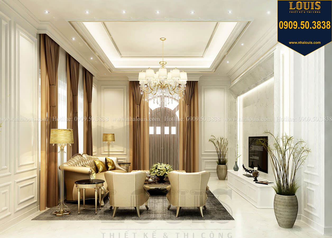 Phòng khách Thiết kế mẫu biệt thự tân cổ điển 3 tầng đậm chất Tây tại Vũng Tàu - 09