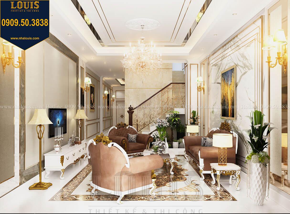 Phòng khách Thiết kế nhà tân cổ điển 6 tầng phong cách thời thượng tại Bình Chánh - 10