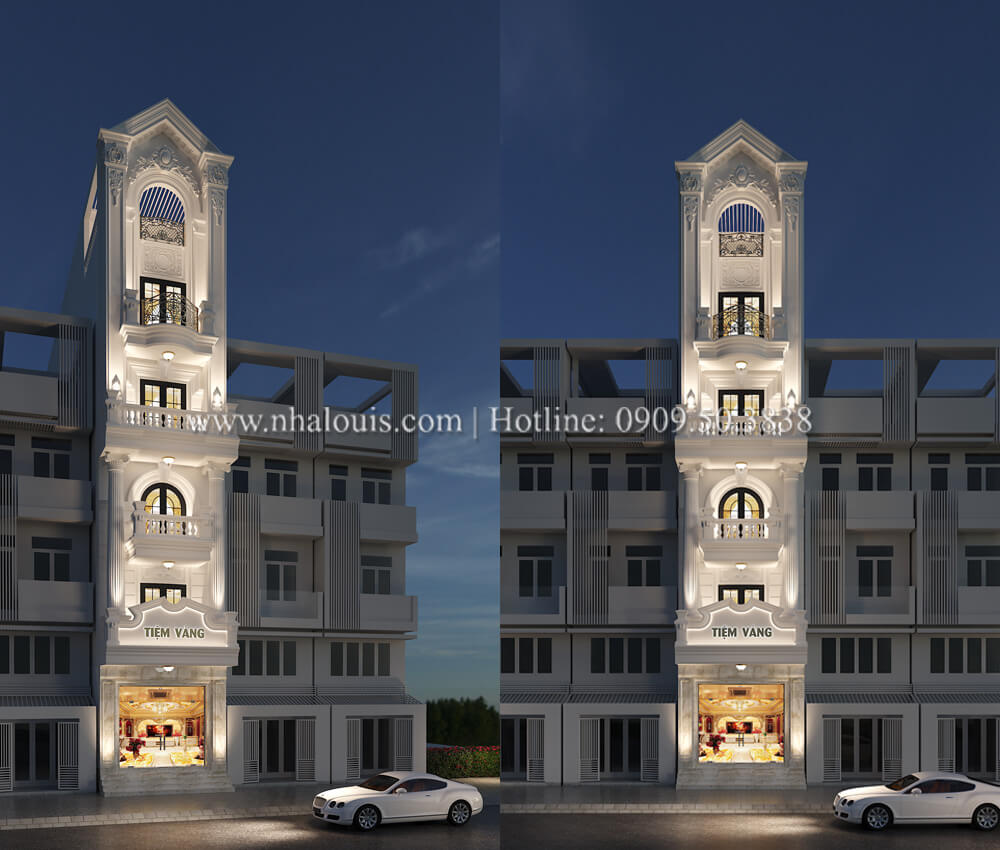 Thiết kế nhà tân cổ điển 6 tầng phong cách thời thượng tại Bình Chánh