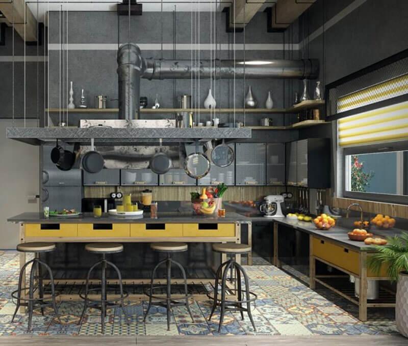 Để bếp nhà tân cổ điển 2 tầng đẹp trọn vẹn theo phong cách công nghiệp