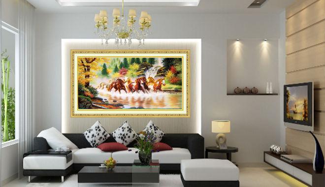 Những cấm kỵ phong thủy khi treo tranh phòng khách mẫu biệt thự đẹp 2 tầng