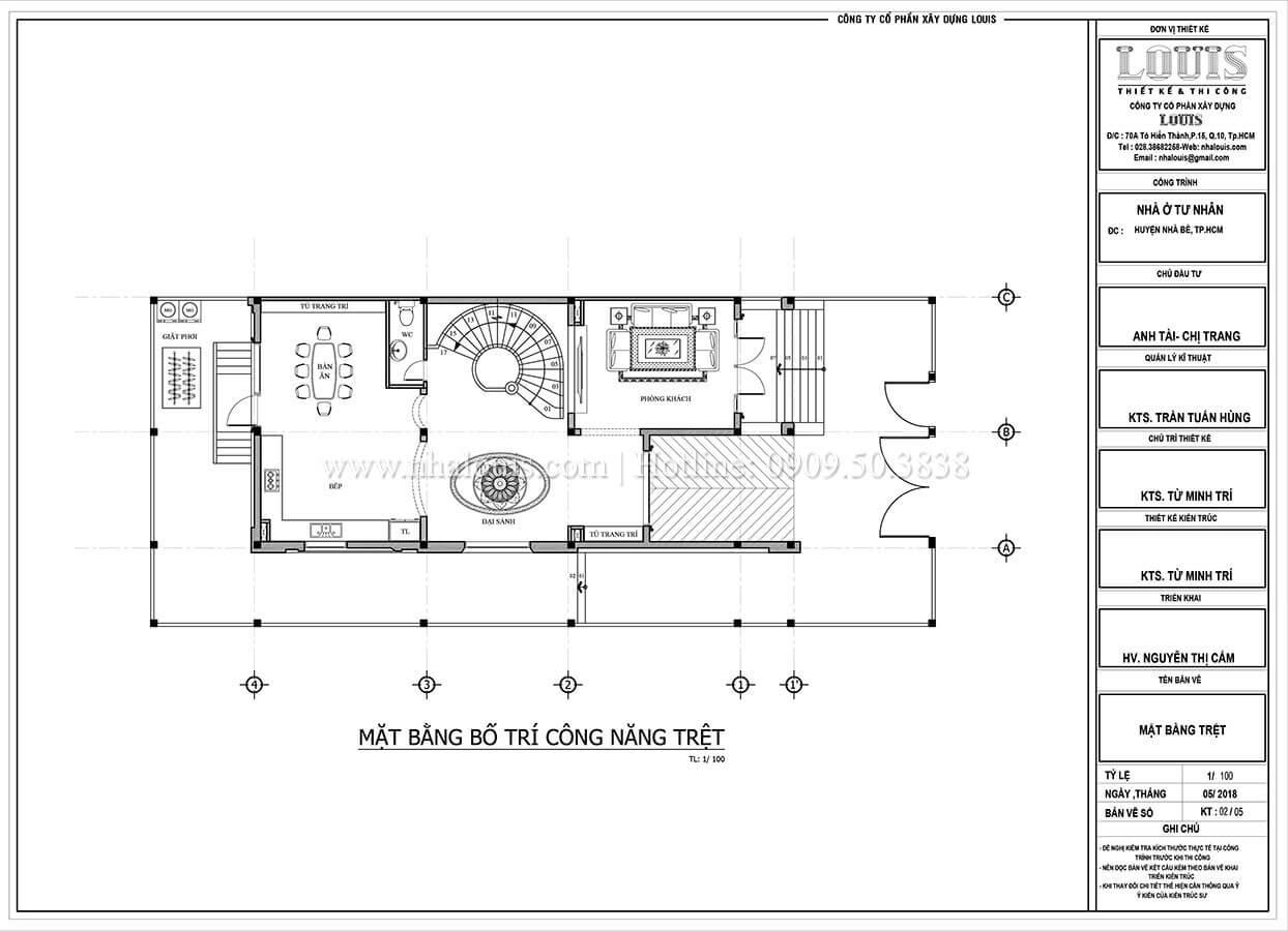 Mặt bằng tầng 2 Mẫu biệt thự hiện đại 3 tầng có tầng hầm độc đáo tại Nhà Bè - 08