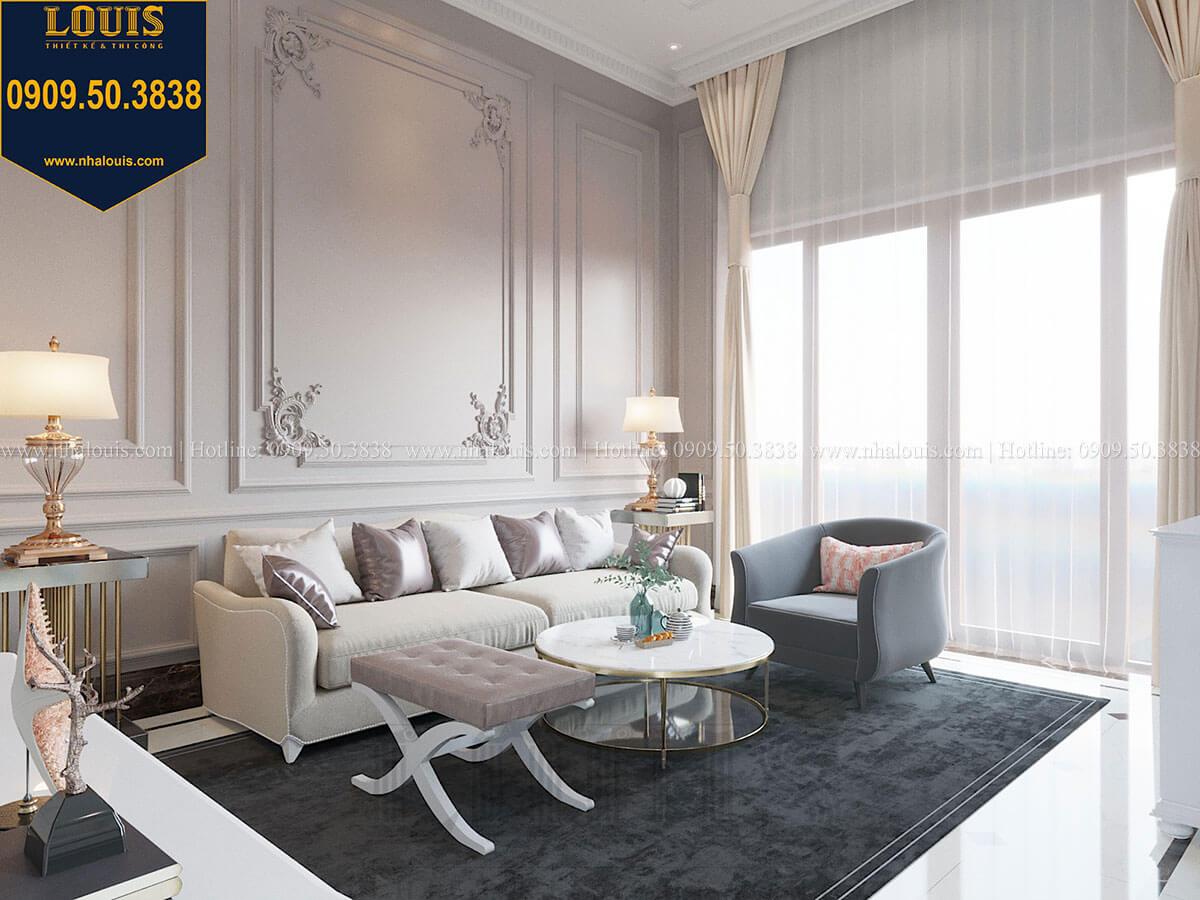 Phòng khách Mẫu biệt thự hiện đại 3 tầng có tầng hầm độc đáo tại Nhà Bè - 12