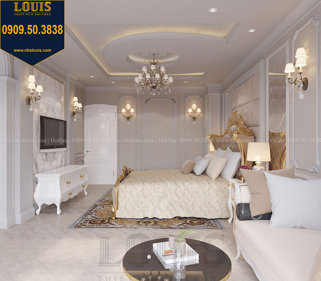 Phòng ngủ master Mẫu biệt thự hiện đại 3 tầng có tầng hầm độc đáo tại Nhà Bè - 23