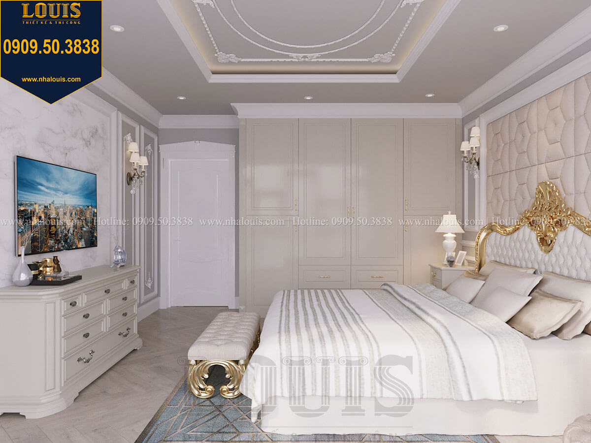 Phòng ngủ Mẫu biệt thự hiện đại 3 tầng có tầng hầm độc đáo tại Nhà Bè - 45