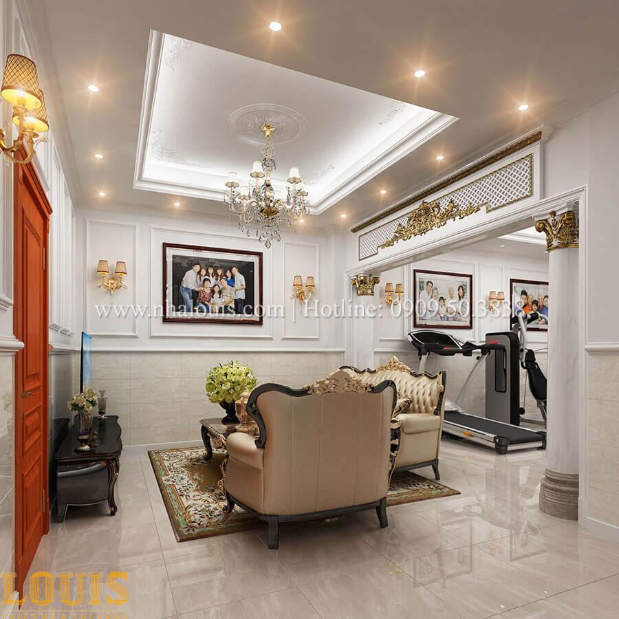 Phòng sinh hoạt chung Mẫu nhà 4 tầng kết hợp kinh doanh tiệm vàng tại Bến Tre - 15