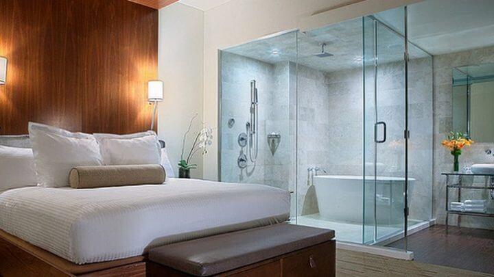 Mẹo thiết kế phòng tắm trong phòng ngủ cho mẫu nhà biệt thự 2 tầng đẹp