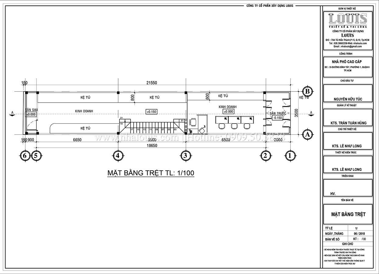 Mặt bằng tầng trệt Thiết kế nhà phố tân cổ điển 5 tầng mặt tiền 3,5m tại Quận 6 - 04