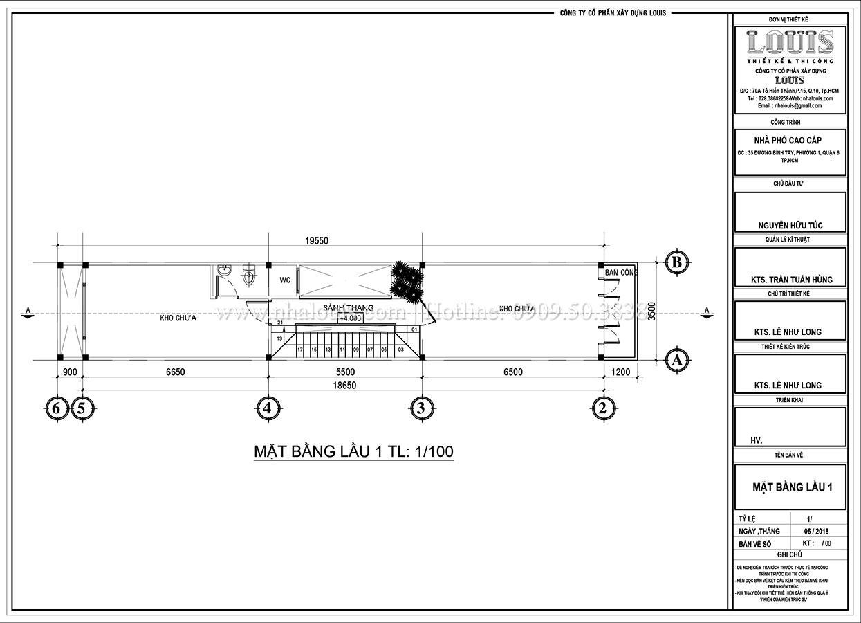 Mặt bằng tầng 1 Thiết kế nhà phố tân cổ điển 5 tầng mặt tiền 3,5m tại Quận 6 - 05