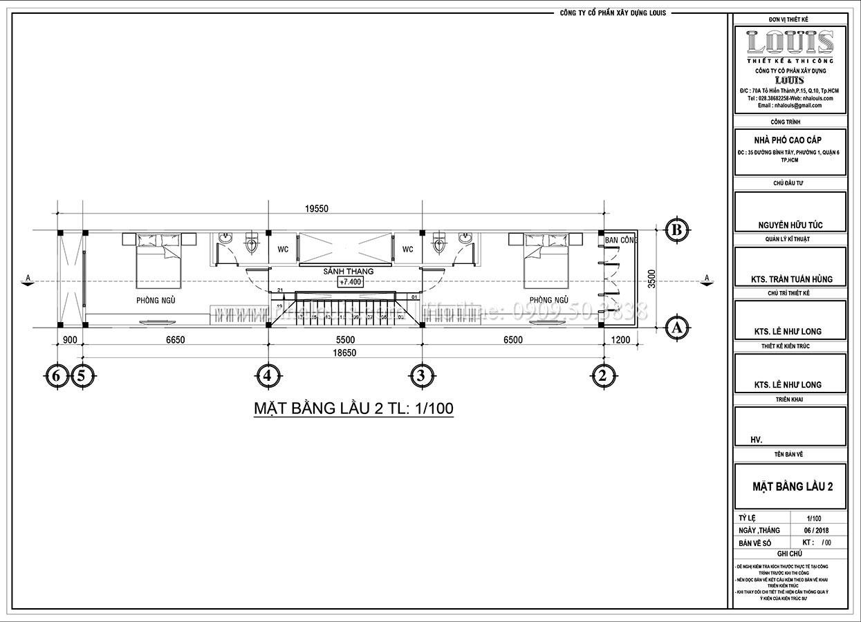 Mặt bằng tầng 2 Thiết kế nhà phố tân cổ điển 5 tầng mặt tiền 3,5m tại Quận 6 - 06