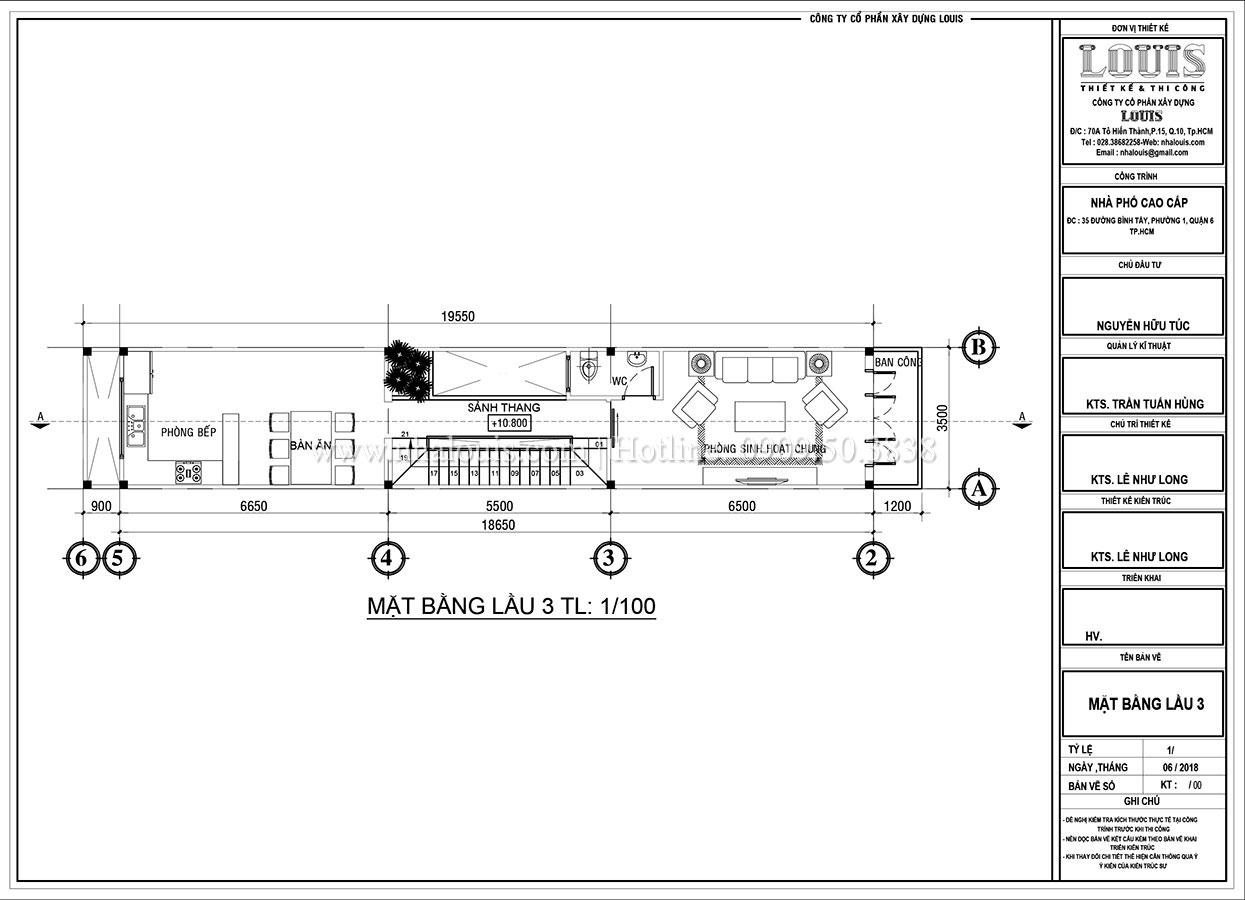 Mặt bằng tầng 3 Thiết kế nhà phố tân cổ điển 5 tầng mặt tiền 3,5m tại Quận 6 - 07