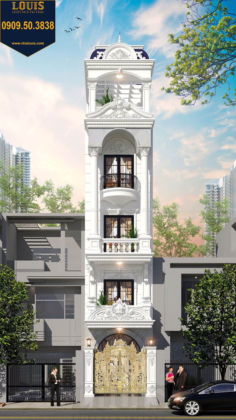 Thi công nhà phố tân cổ điển 5 tầng mặt tiền 3,5m tại quận 6