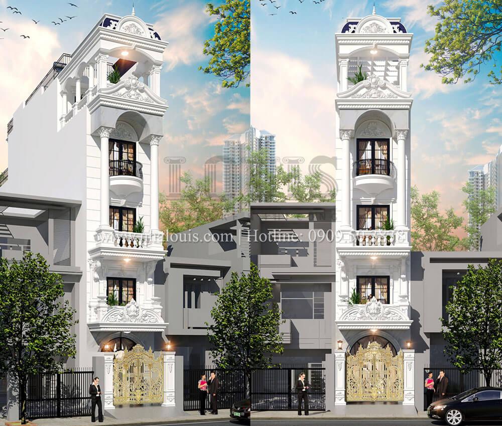 Thiết kế nhà phố tân cổ điển 5 tầng mặt tiền 3,5m tại Quận 6