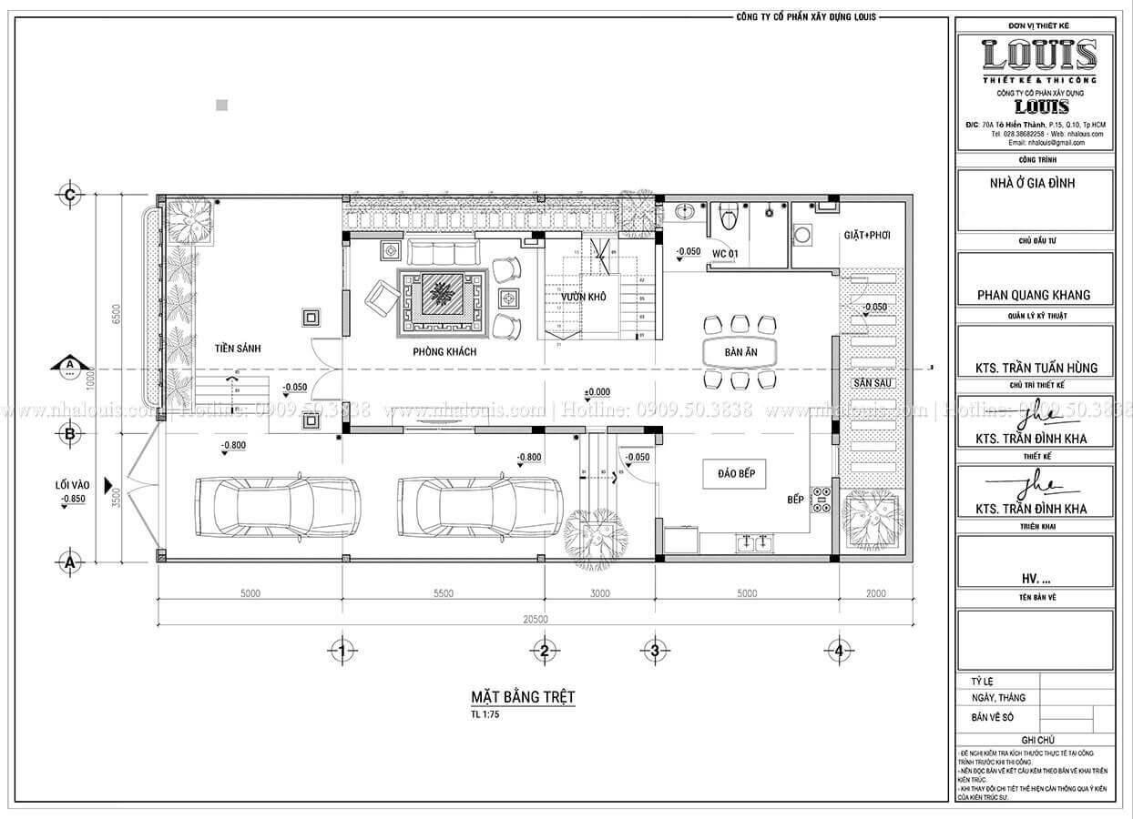 Mặt bằng tầng trệt Thiết kế biệt thự 3 tầng hiện đại mặt tiền 10m tại Cần Thơ - 08