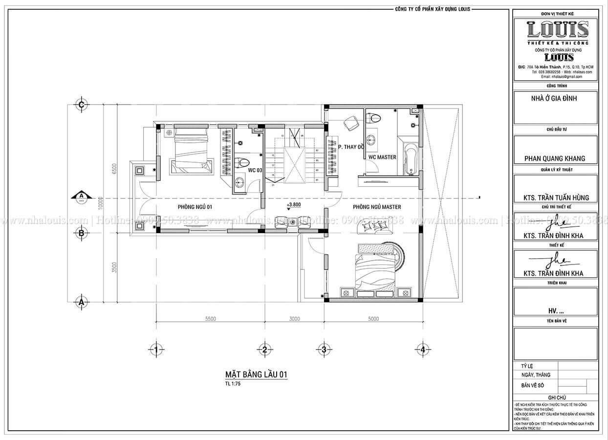 Mặt bằng tầng 1 Thiết kế biệt thự 3 tầng hiện đại mặt tiền 10m tại Cần Thơ - 09