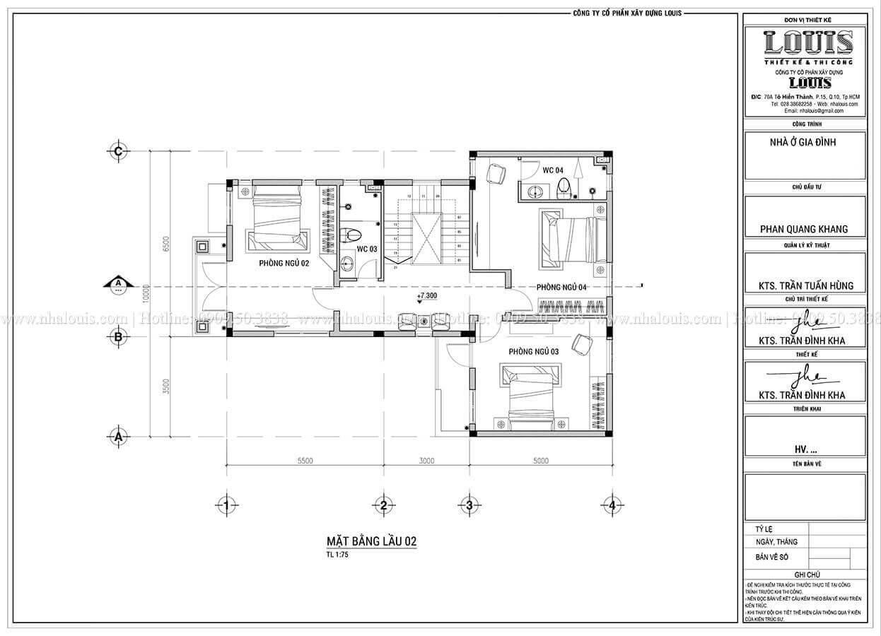 Mặt bằng tầng 2 trệt Thiết kế biệt thự 3 tầng hiện đại mặt tiền 10m tại Cần Thơ - 10