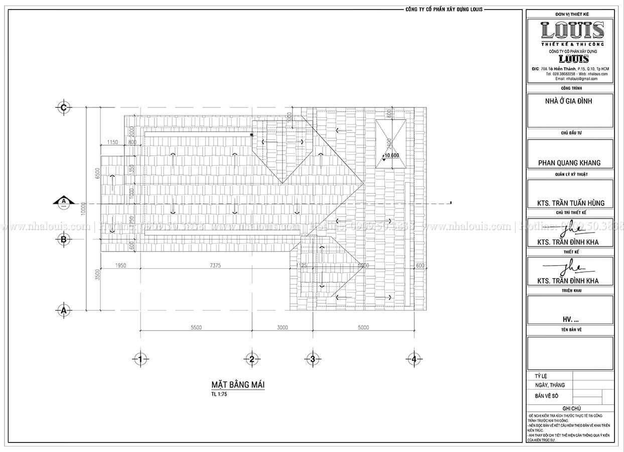 Mặt bằng tầng mái Thiết kế biệt thự 3 tầng hiện đại mặt tiền 10m tại Cần Thơ - 11