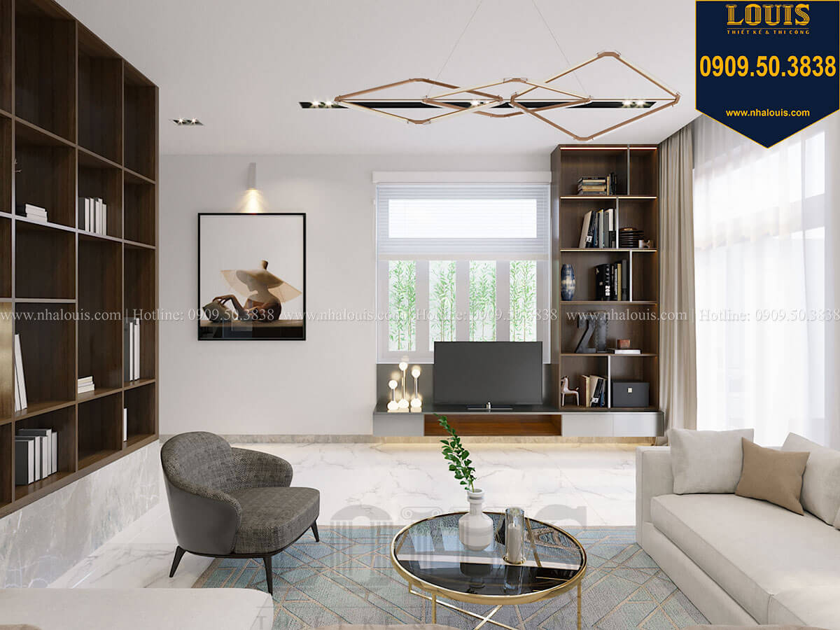 Phòng khách Thiết kế biệt thự 3 tầng hiện đại mặt tiền 10m tại Cần Thơ - 12