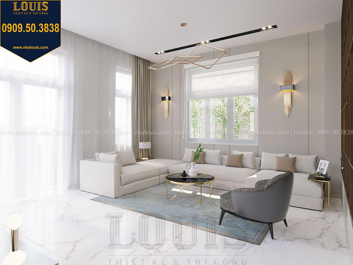 Phòng khách Thiết kế biệt thự 3 tầng hiện đại mặt tiền 10m tại Cần Thơ - 14