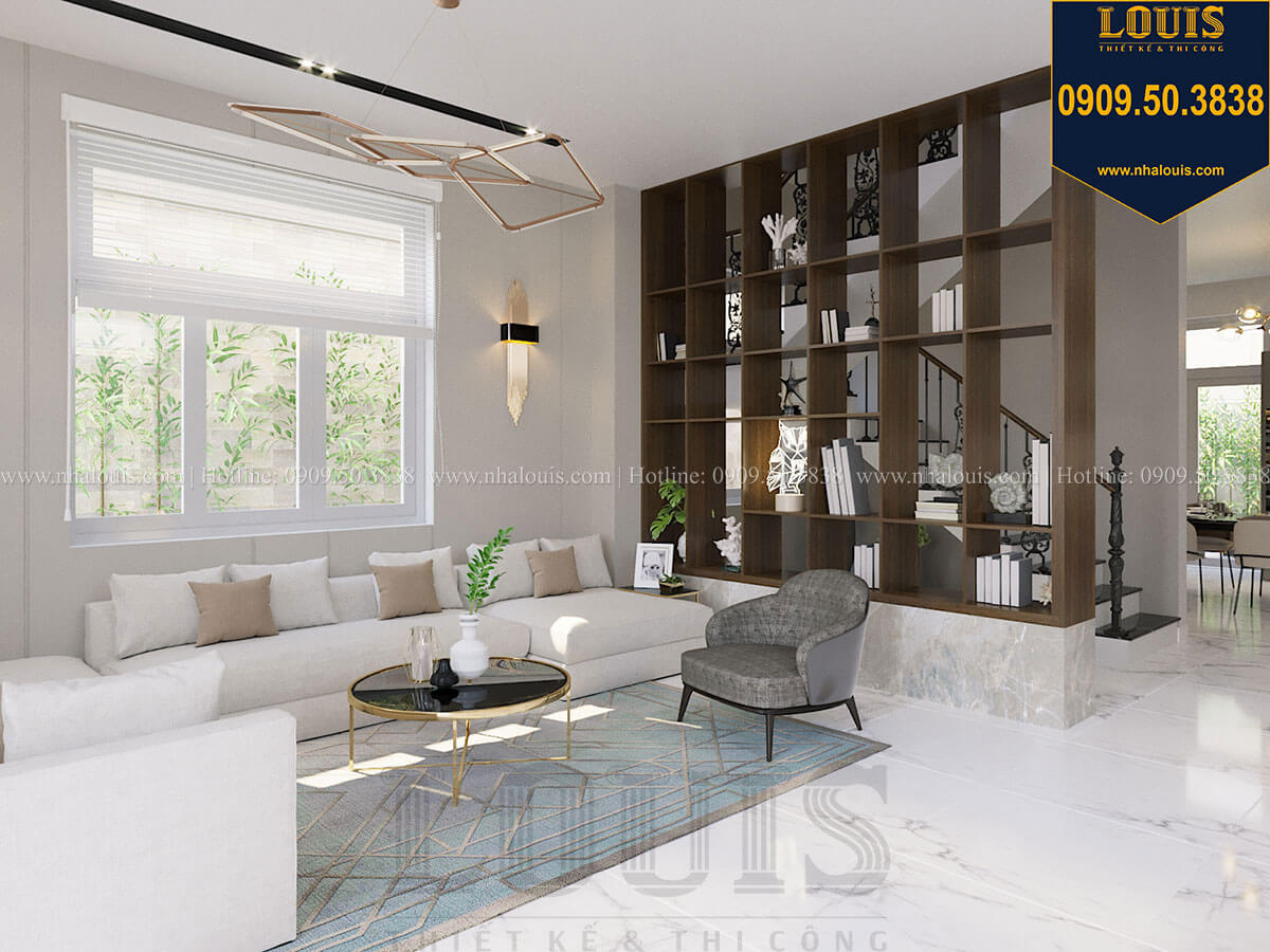 Phòng khách Thiết kế biệt thự 3 tầng hiện đại mặt tiền 10m tại Cần Thơ - 15